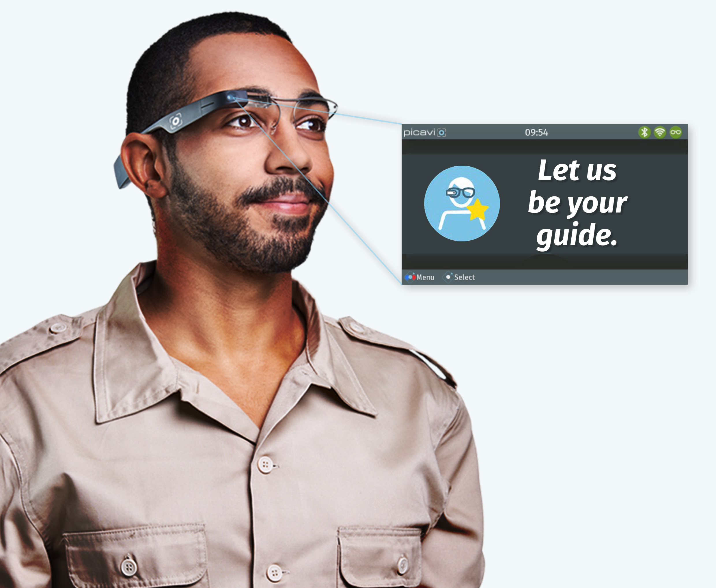 Person mit Datenbrille, Google Glass